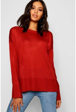 Womens Paprika Crew Neck Split Sweater