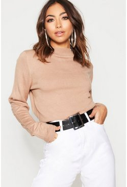 Womens Camel Turtle Neck Sweater