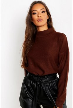Womens Chocolate Turtle Neck Jumper