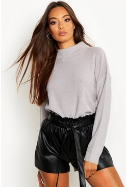Womens Grey Turtle Neck Jumper