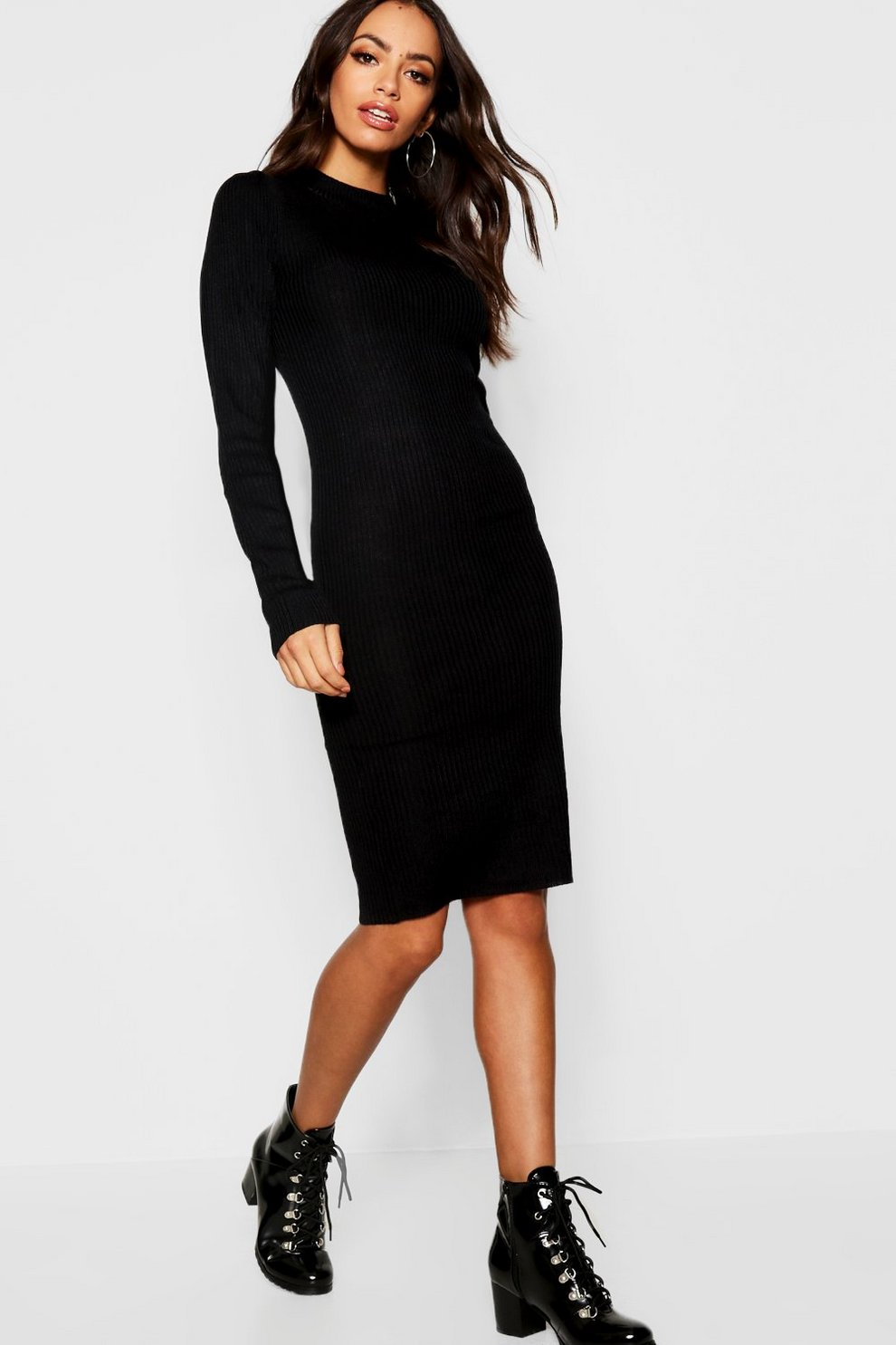 27d5615e30a Ribbed Turtle Neck Long Sleeve Dress | Boohoo