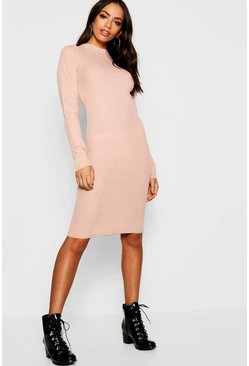 Womens Dusky pink Ribbed Turtle Neck Long Sleeve Dress