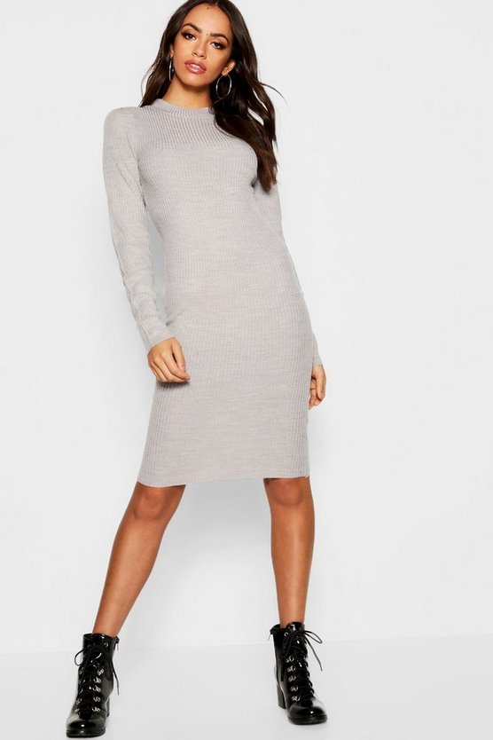 Ribbed Turtle Neck Long Sleeve Dress