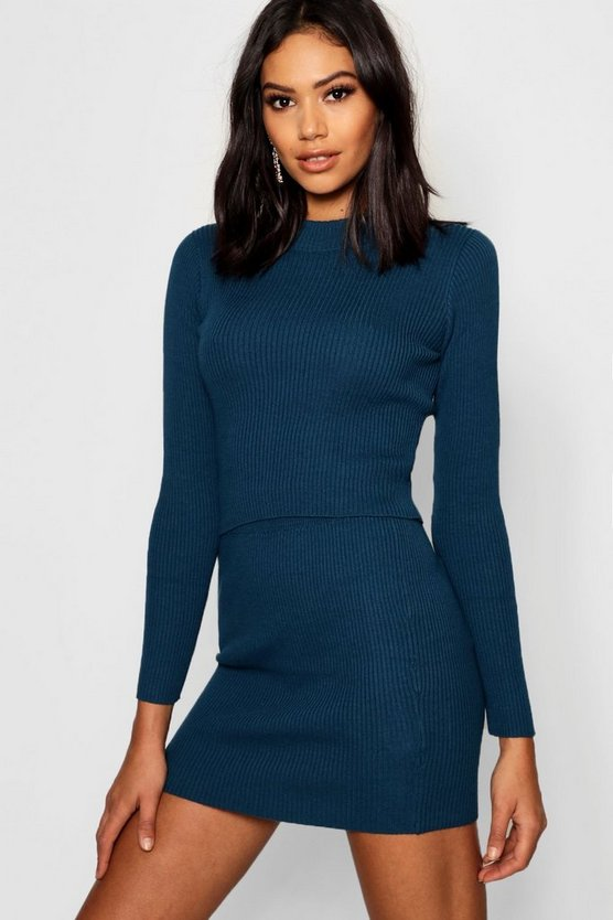 Rib Knit Skirt & Jumper Set