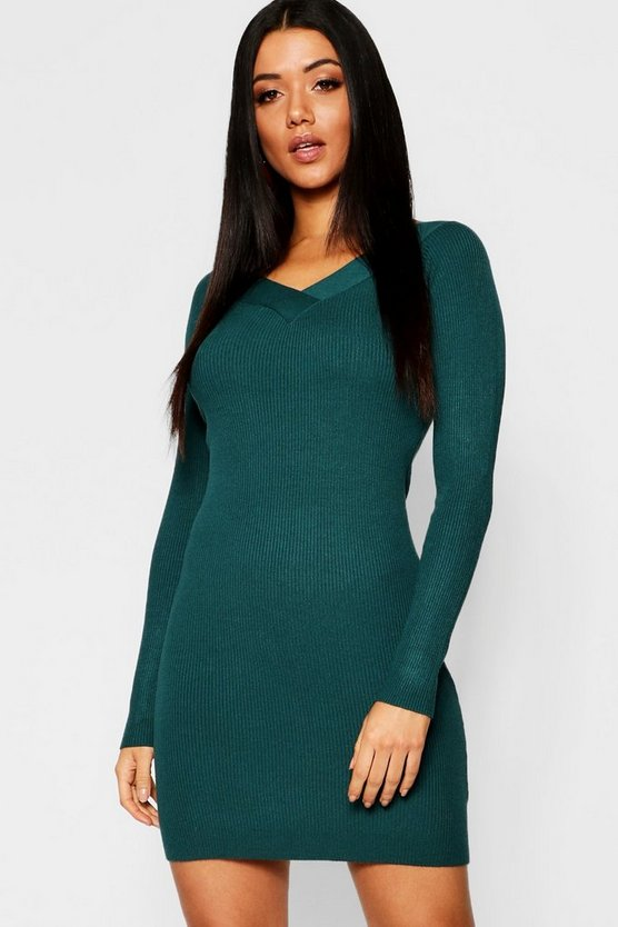Skinny Rib V Front & Back Dress