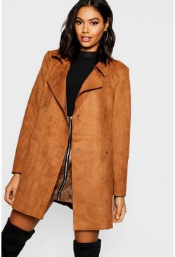 Womens Tan Suedette Double Breasted Jacket