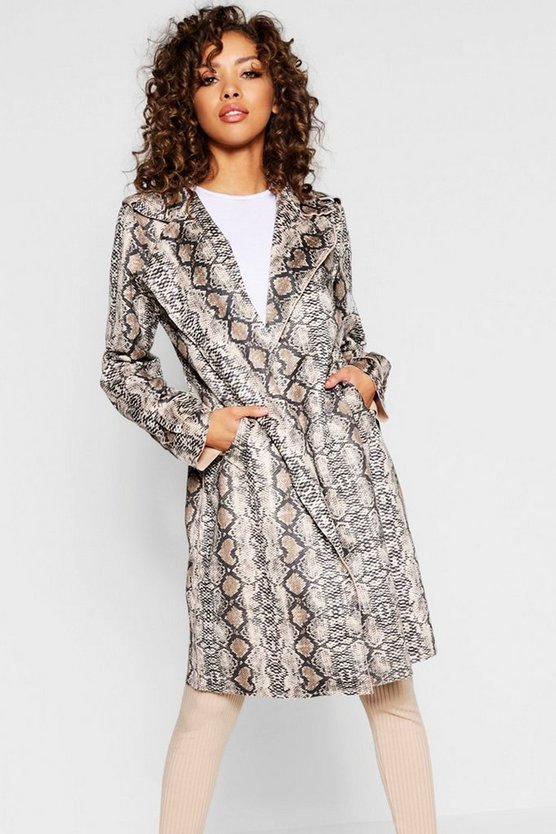 Womens Stone Snake Suedette Trench Coat