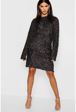 Womens Black Crew Neck Jumper Dress