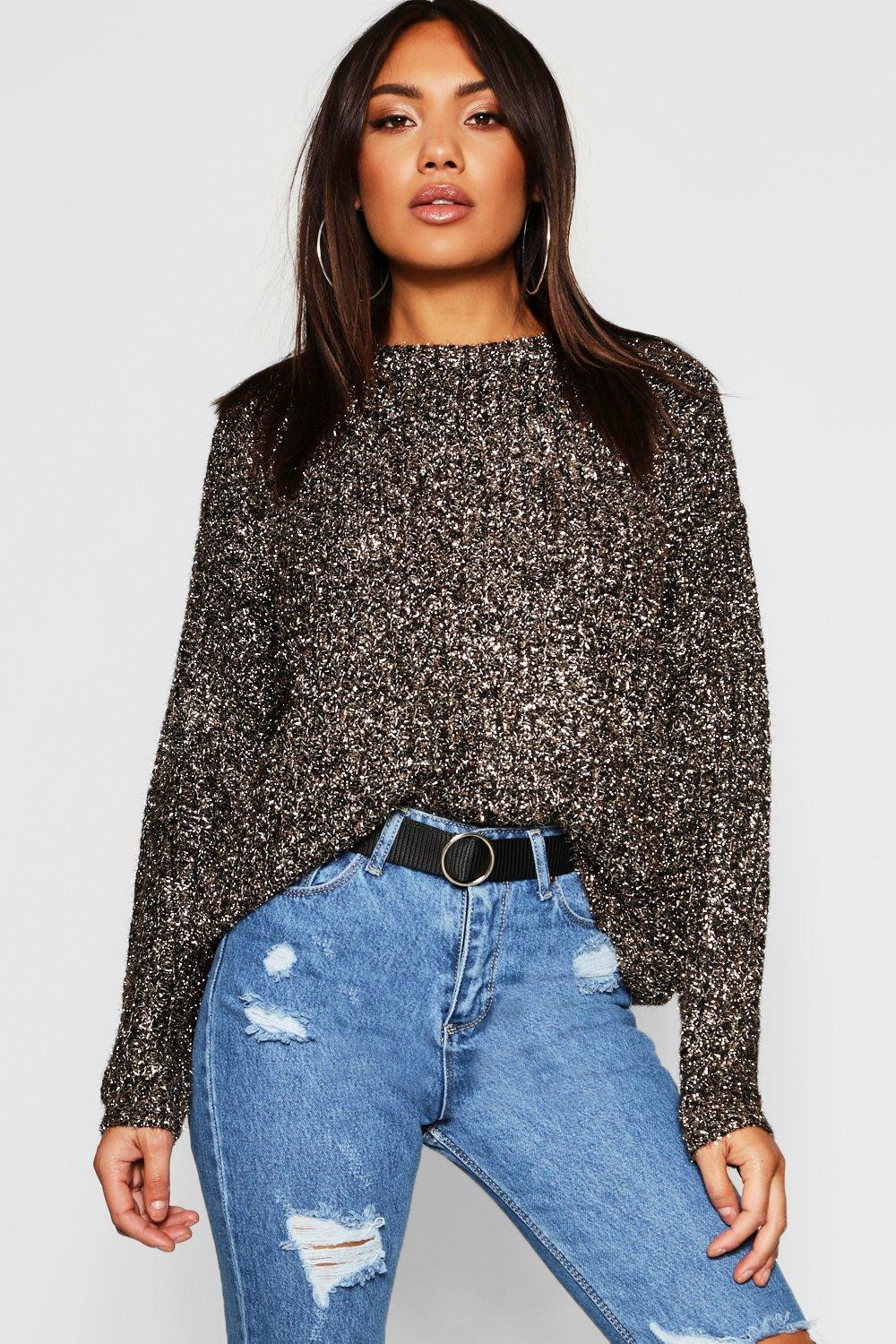 Fisherman Tinsel Yarn Crew Neck Jumper