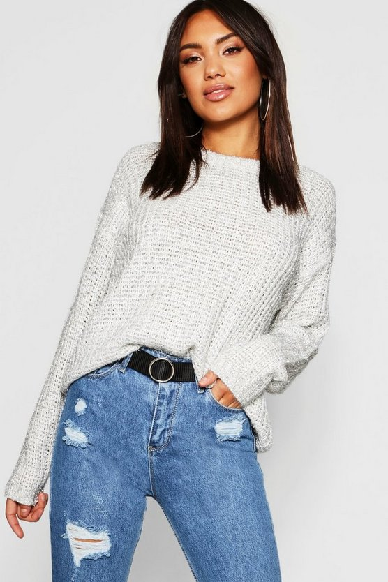 Fisherman Tinsel Yarn Crew Neck Sweater