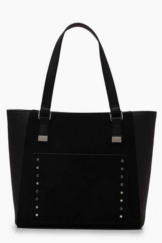 Womens Black Suedette Pocket Tote