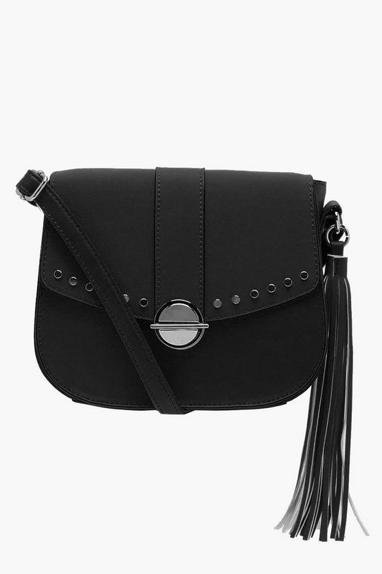 Womens Black Suedette Stud & Lock Cross Body