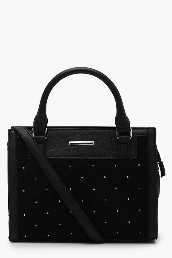 Womens Black Quilted Stud Mini Tote