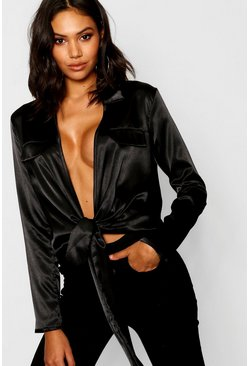 Black Satin Utility Pocket Plunge Shirt