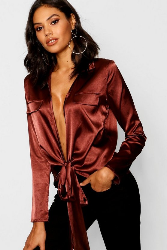 Womens Chocolate Satin Utility Pocket Plunge Shirt