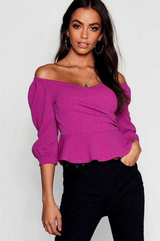 Jewel purple Ruffle Off The Shoulder Scuba Peplum