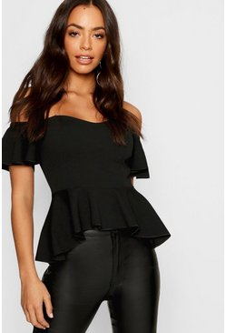 Womens Black Off The Shoulder Angel Sleeve Peplum