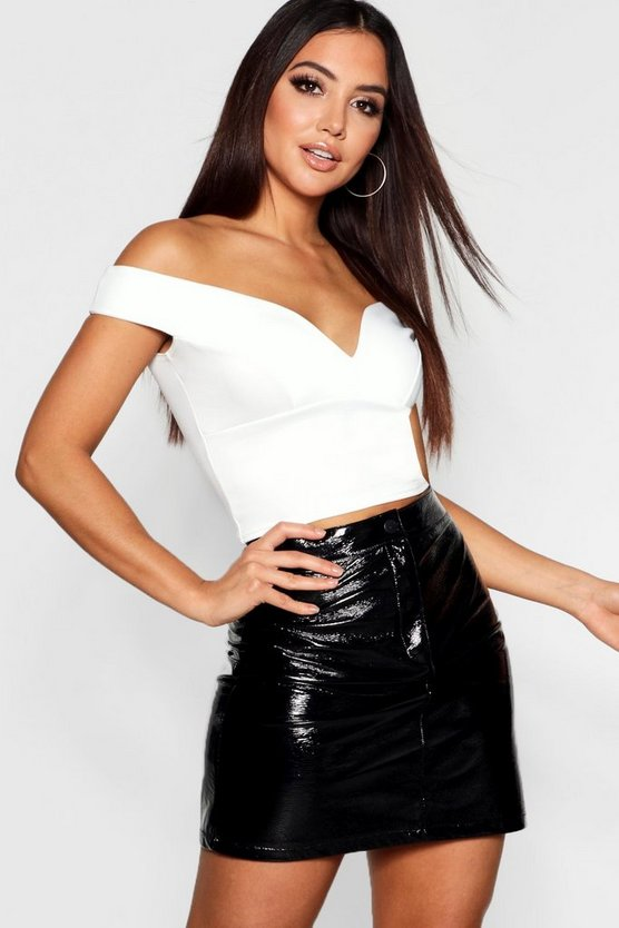 Womens Ivory Sweetheart Off The Shoulder Scuba Crop