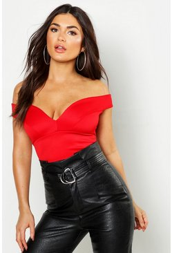 Womens Red Sweetheart Off The Shoulder Scuba Crop