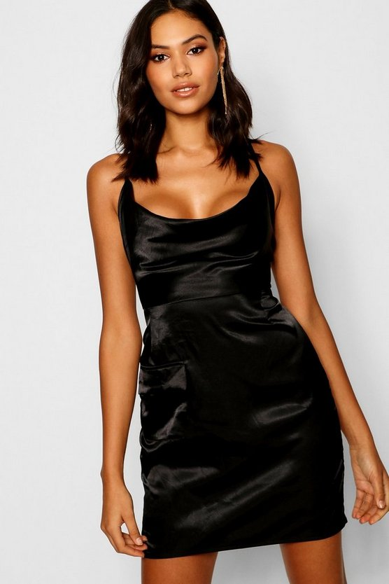 Womens Black Satin Cowl Utility Pocket Mini Dress