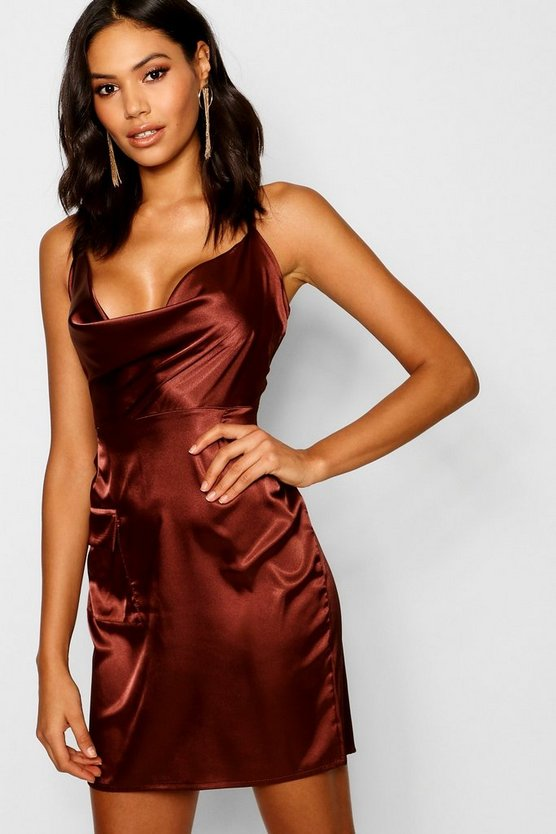 Satin Cowl Utility Pocket Mini Dress