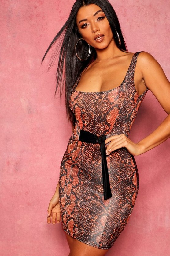 Snakeskin Belted Mini Dress