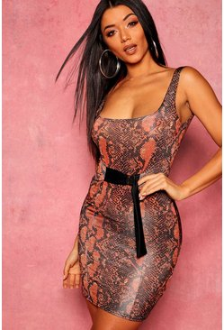 Womens Rust Snakeskin Belted Mini Dress