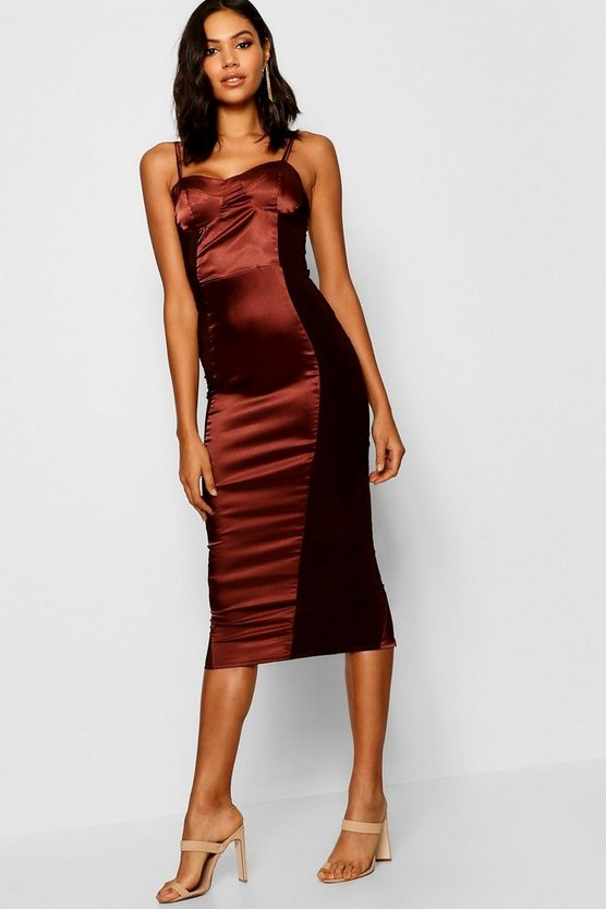 Satin Cupped Mesh Panel Bodycon Dress