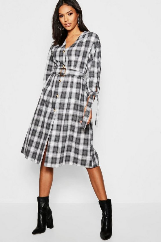 Womens Belted Checked Tie Sleeve Midi Dress