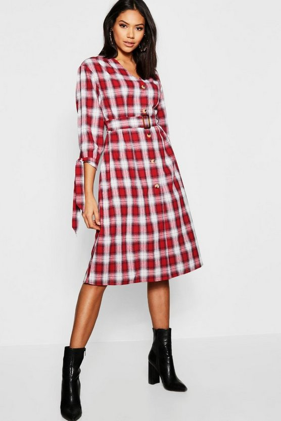 Belted Checked Tie Sleeve Midi Dress
