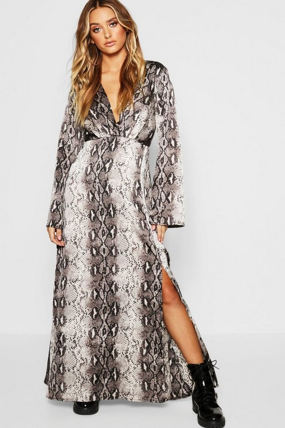 Snake Print Revere Collar Maxi Shirt Dress