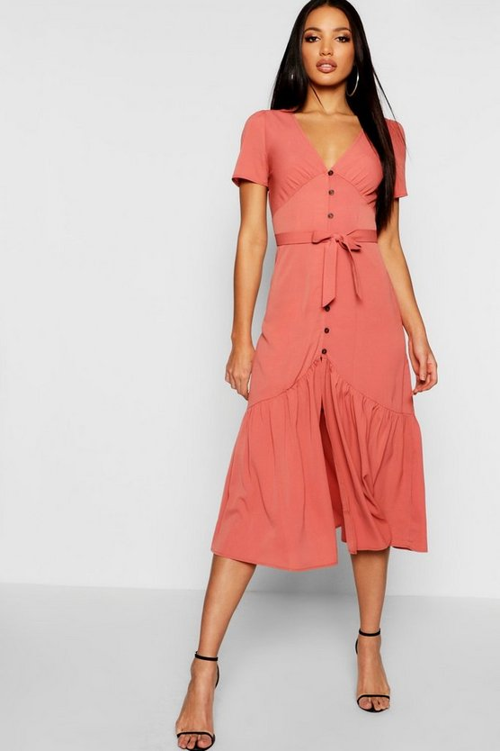 Horn Button Front Ruffle Hem Midi Dress