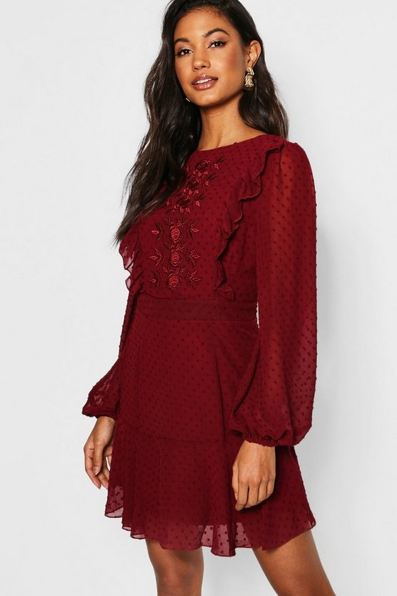 Embroidered Dobby Chiffon Ruffle Detail Mini Dress