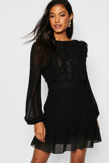 Womens Black Embroidered Dobby Chiffon Ruffle Detail Mini Dress