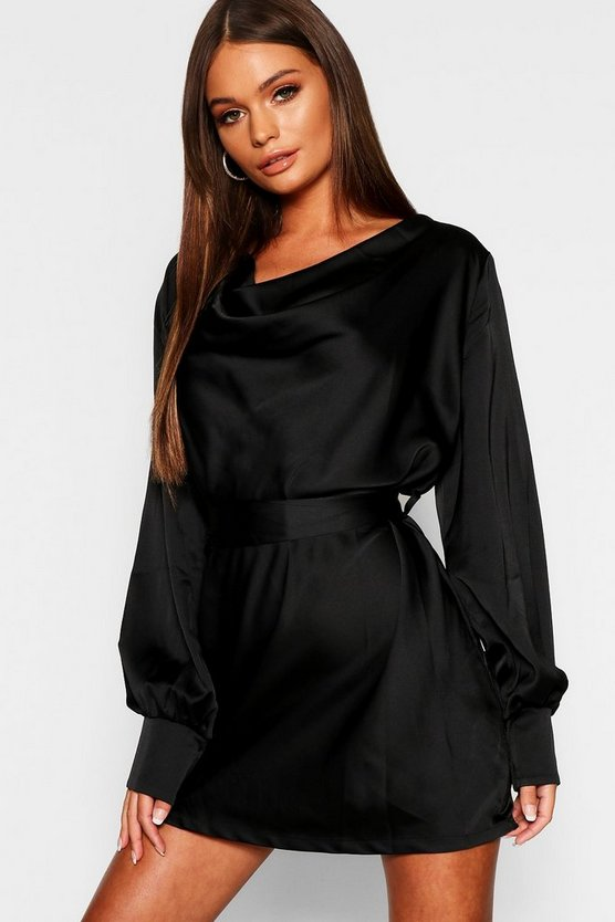 Womens Black Satin Cowl Neck Shift Dress