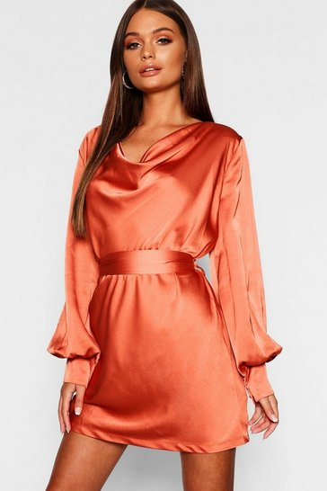 Womens Brick Satin Cowl Neck Shift Dress