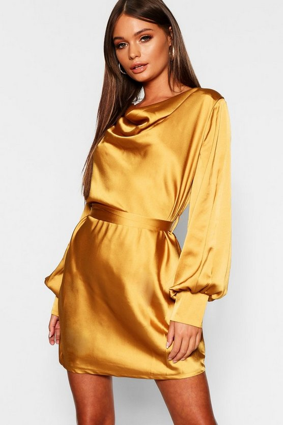 Satin Cowl Neck Shift Dress