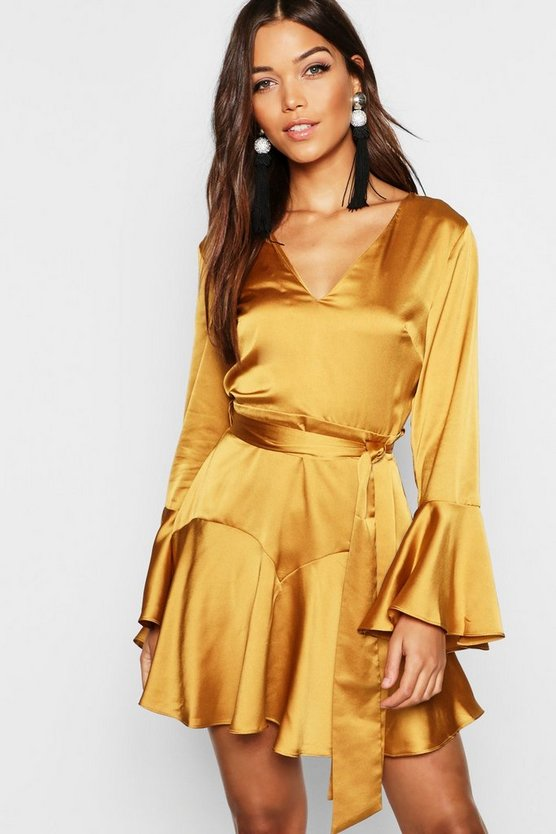 Satin Tie Waist Fit + Flare Skater Dress