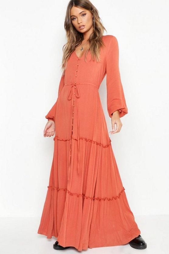 Button Front Blouson Sleeve Maxi Dress