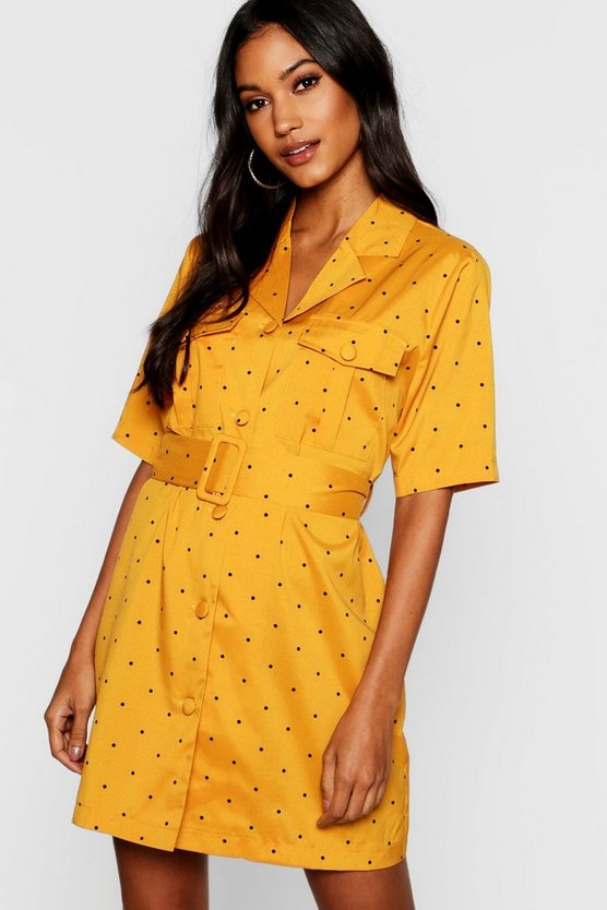 Womens Mustard Polka Dot Belted Mini Blazer Dress