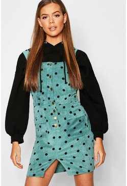Womens Emerald Polka Dot Corduroy Dungaree Dress