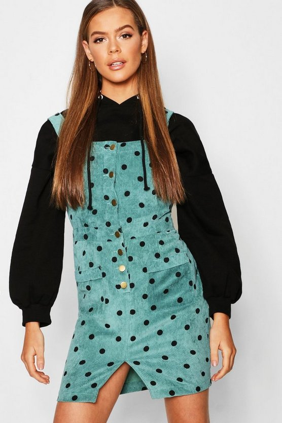 Polka Dot Corduroy Dungaree Dress