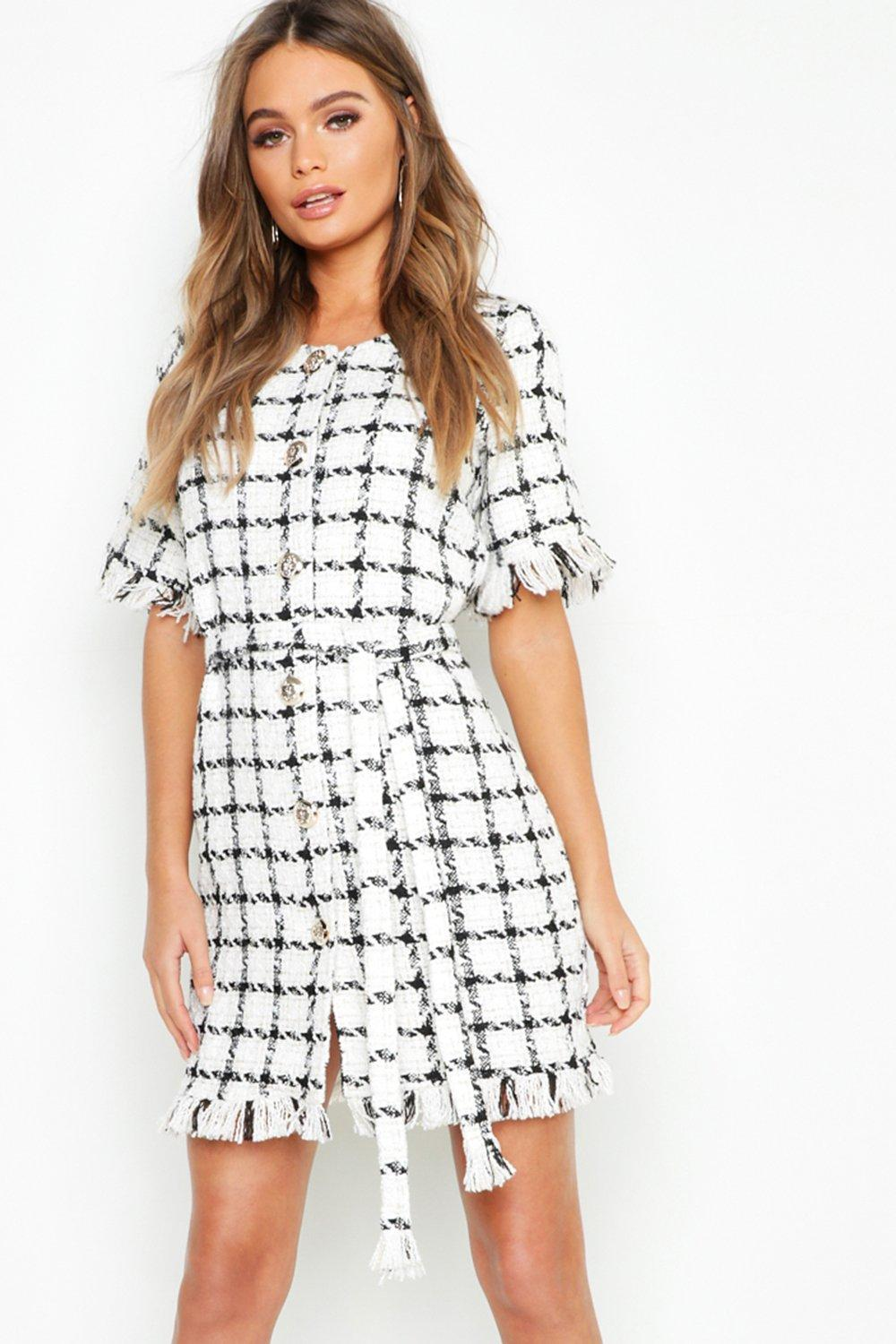 Tweed Button Front Belted Mini Dress