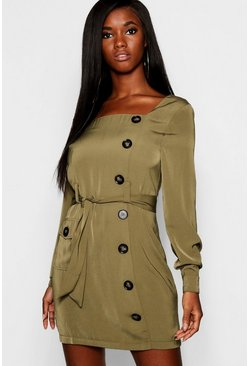 Womens Khaki Button Front Belted Shift Dress
