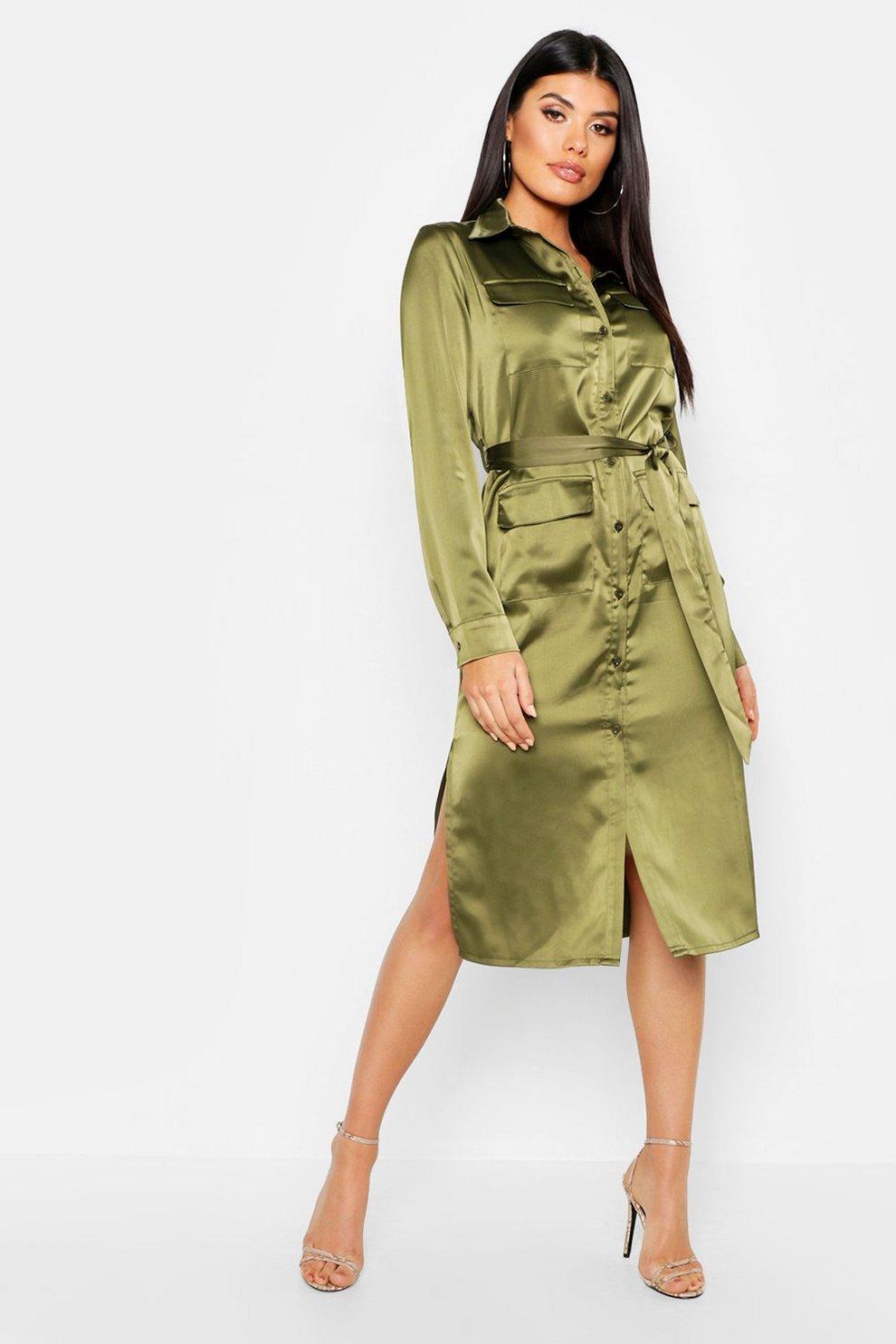 68ce3e6f0a2 Robe chemise fonctionnelle robe en satin de luxe fendue sur le côté ...