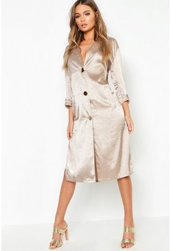 Womens Champagne Button Front Matte Satin Jacquard Blazer Dress