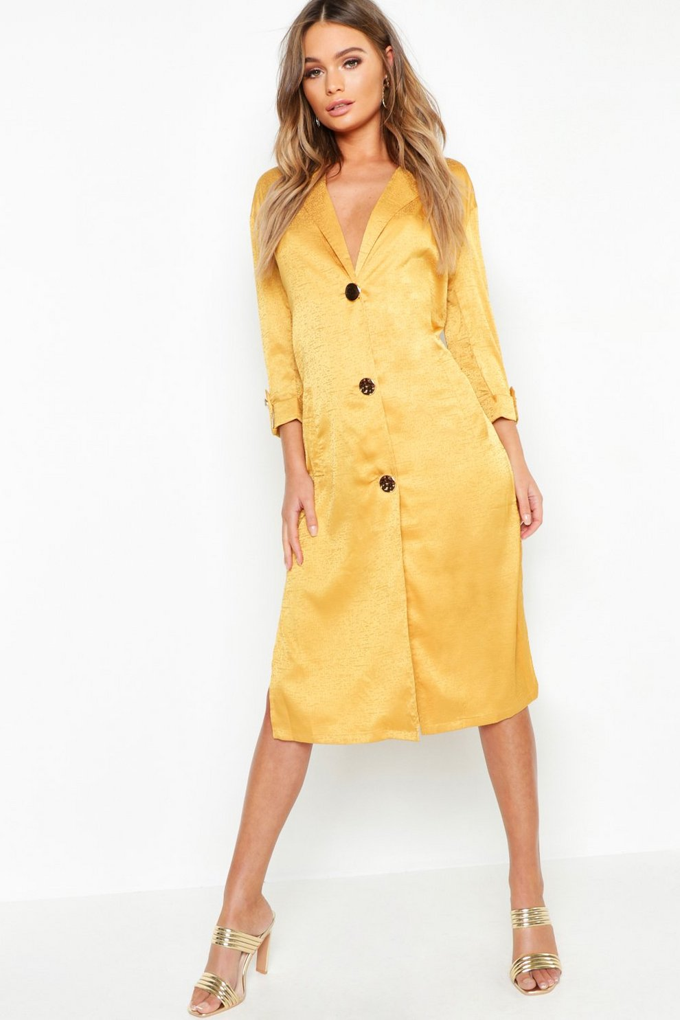 a15e0ce13ee1f Womens Mustard Button Front Matte Satin Jacquard Blazer Dress. Hover to zoom