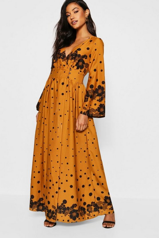 Button Front Wrapped Polka Dot Maxi Dress