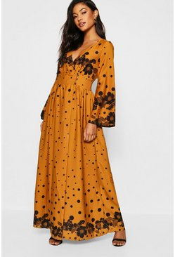 Womens Button Front Wrapped Polka Dot Maxi Dress
