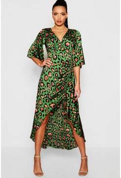 Womens Leopard Print Rouched Side Maxi Dress